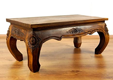 Tavolo basso in legno massiccio tavolino 80 x 40 cm con intaglio