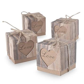 Pixnor - Pomos Fuerza Cajas de caramelos boda Shabby Chic arpillera Vintage Regalo Cajas mencionaba boda gunst - 100 Unidades: Amazon.es: Bricolaje y ...