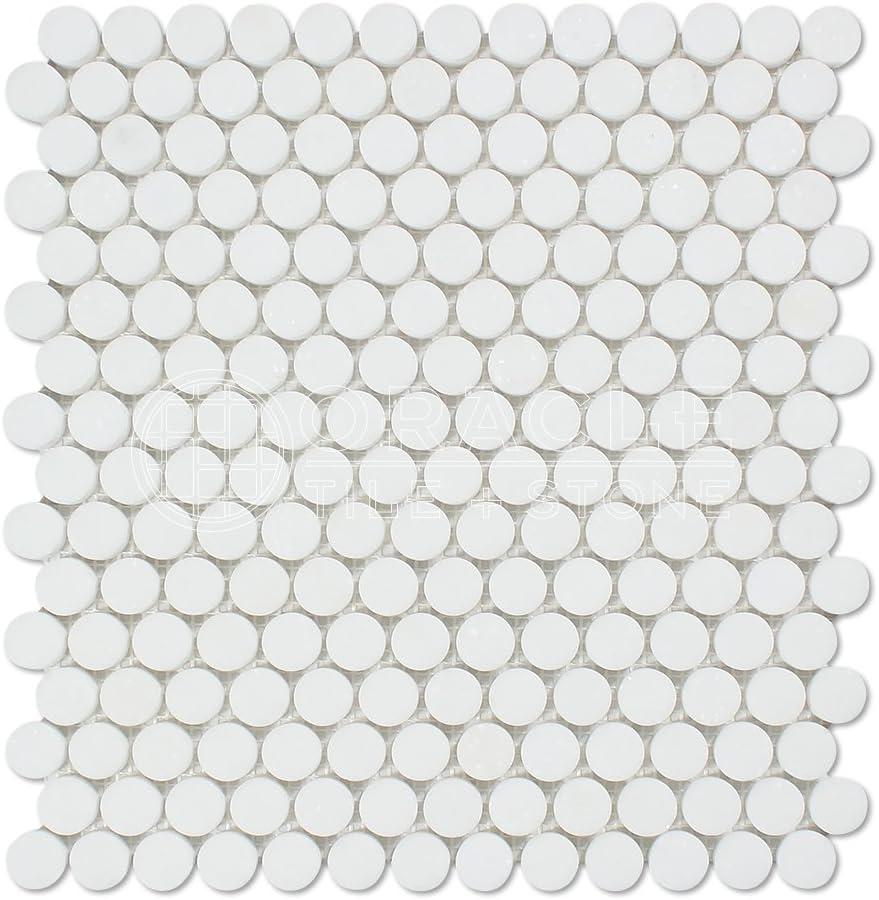Thassos White Greek Marble Penny Round Mosaic Tile Honed