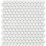 Thassos White Greek Marble Penny Round Mosaic Tile, Honed