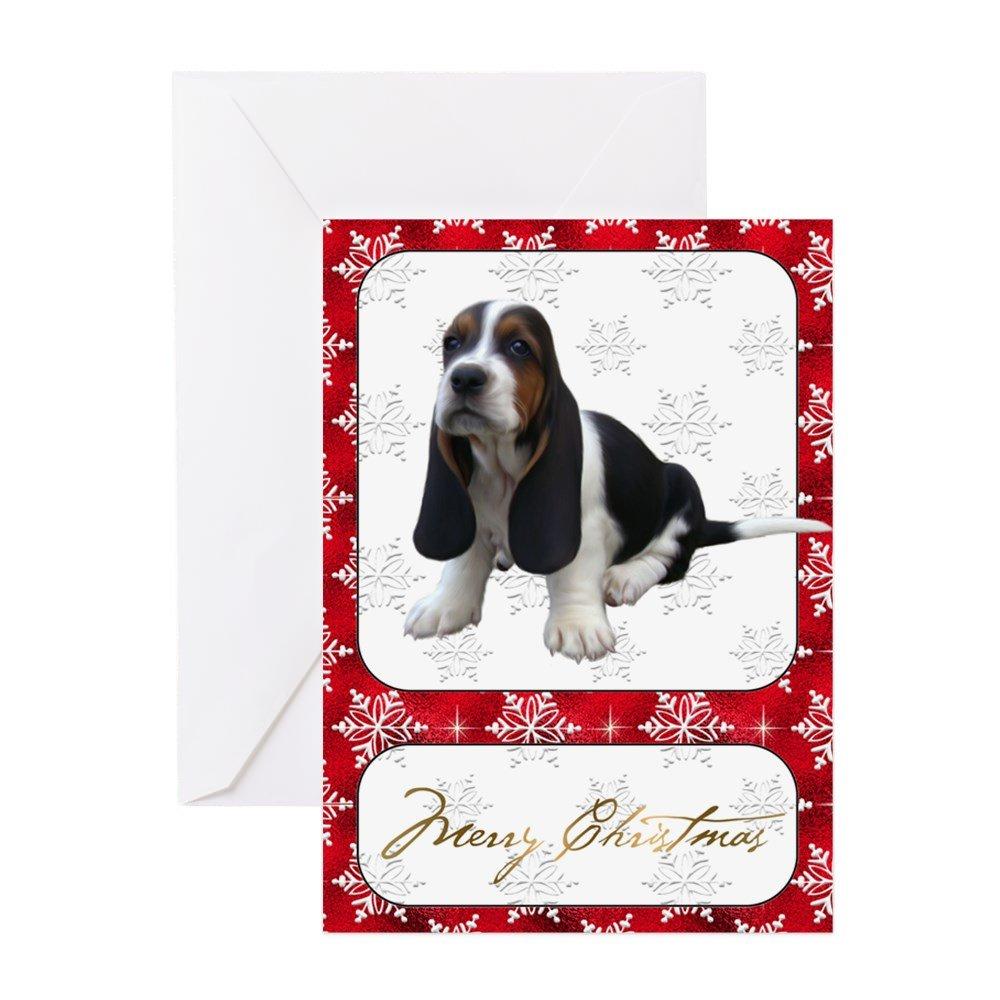 Amazon.com : CafePress - Basset Hound Christmas Card - Greeting Card ...