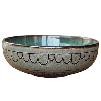6.29in ensalada Tazón de cerámica de época vajilla rústica de la sopa de fideos Ensalada de fruta de la cocina del restaurante (Gema Verde): Amazon.es: ...