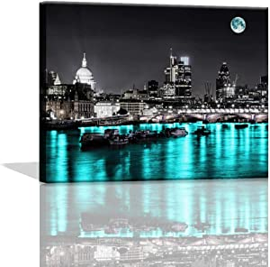 Bedroom Wall Art Decor Black and White with Teal London Cityscape Pictures Prints for Bedroom Canvas Artwork for Home Walls Paintings Kitchen Wall Pictures Home Decorations Canvas Art Prints 12x16inch