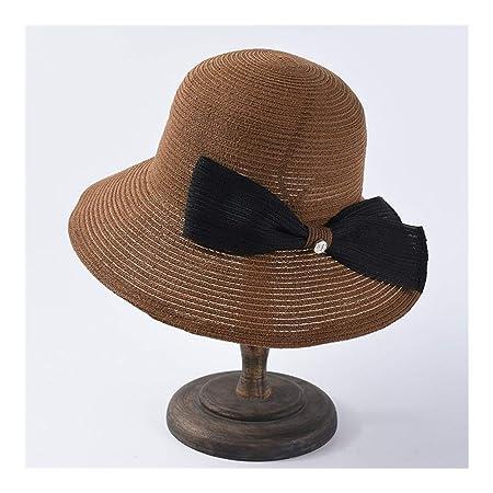 LENGKANG-EU Sombrero de Paja de Verano Mujer Elemental sin ...