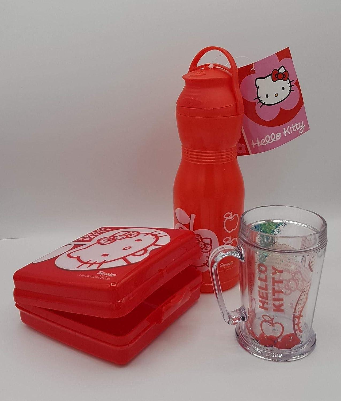 Pack de4 Piezas Botella de Agua de Infantil a Prueba de Fugas sin BPA 600 ml, Fiambrera sandwicheras 300cc, Taza Doble Pared 420ml, Mochila Transparente para niñas,