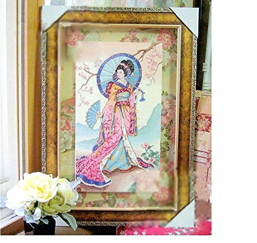 sweethome Japanese Lady Counted Cross Stitch, Cotton Thread, 14ct 36x56 cm 140x252 Stitch Counted Cross Stitch Kits