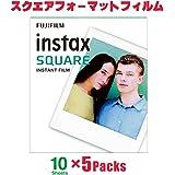 FUJIFILM チェキ スクエアフォーマットフィルム instax SQUARE 50枚&アルバム(パノラマサイズ)セット