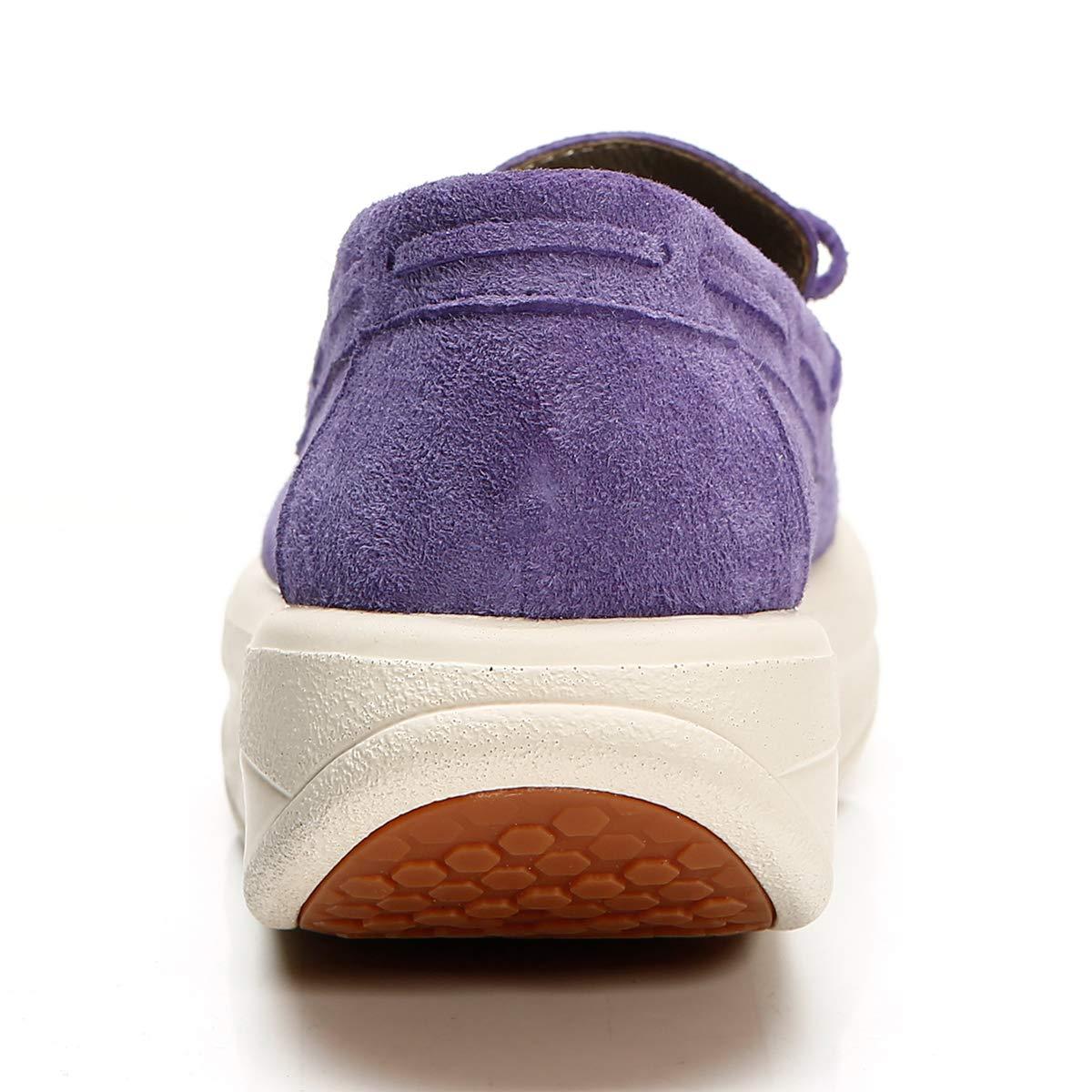 RoseG RoseG RoseG Damen Mokassin Leder Slipper Platform Creepers Schuhe Violett ea7532