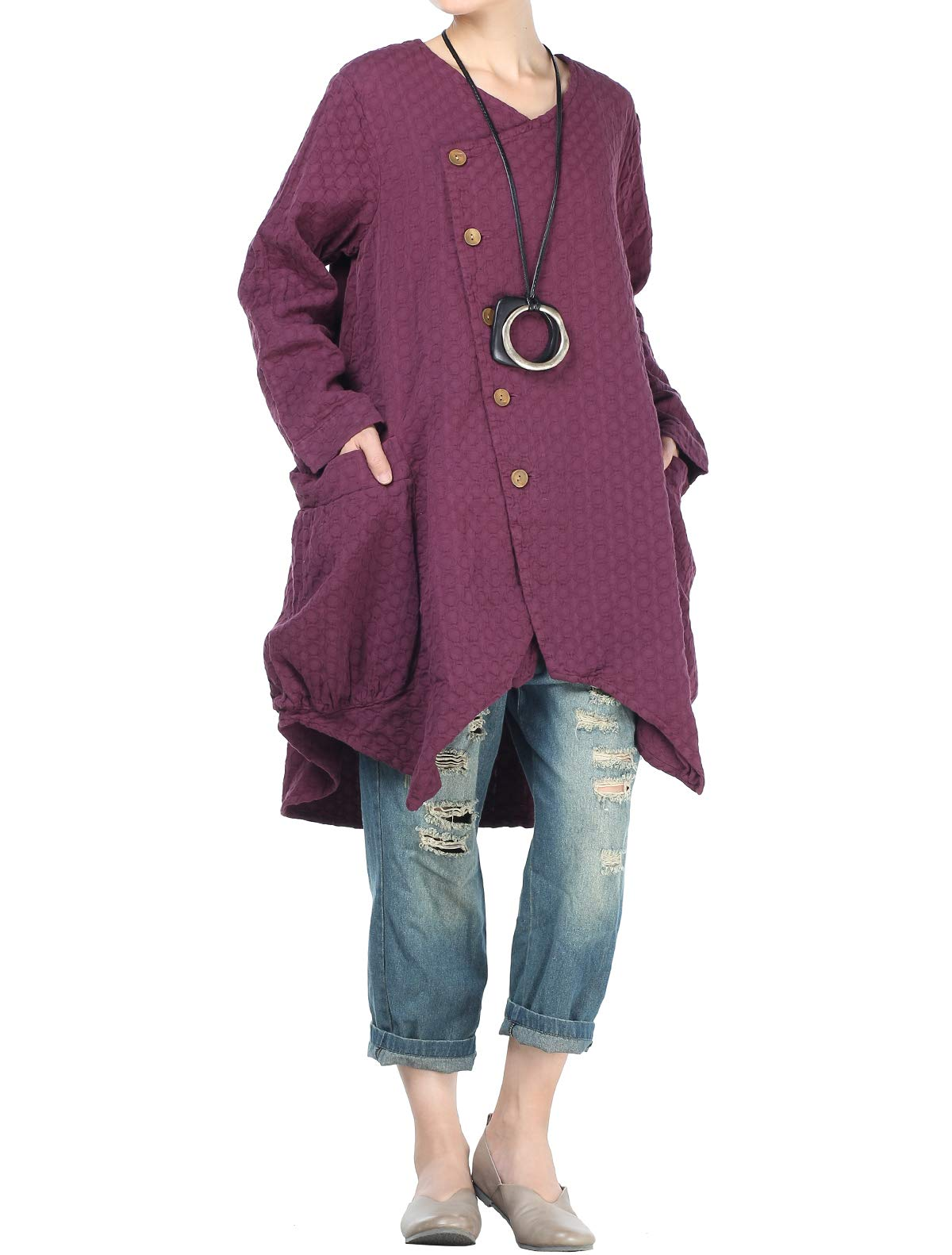 Mordenmiss Women's Button Closure Asymmetrical Trench Coat with Big Pockets Purple
