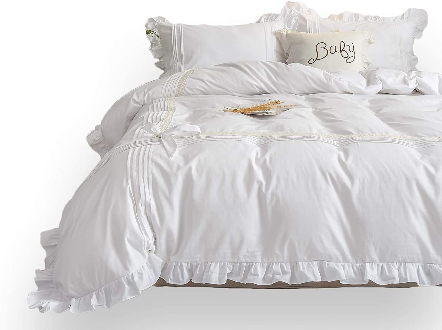 FADFAY King Size White Bedding Comforter Cover Set Shabby Ruffle Farmhouse Duvet Cover Set- Premium 100% Cotton Hypoallergenic 3 Piece - No Comforter- New in 2020- White/King