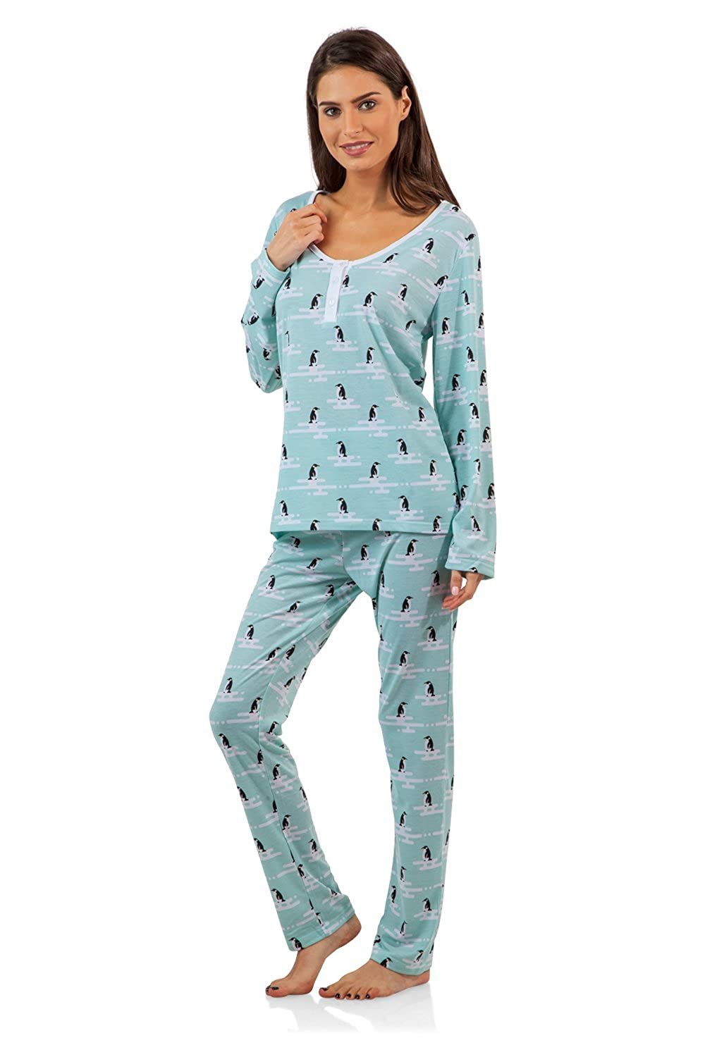 BHPJ By Bedhead Pajamas Women's Soft Knit Henley Shirt Pajama Set BHPJ 10046