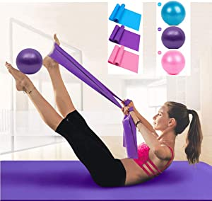 Resistance Band & Exercise Ball for Barre,Yoga,Pilates,Stability Exercise Training,Deep Tissue Massage, Core Training and Physical Therapy