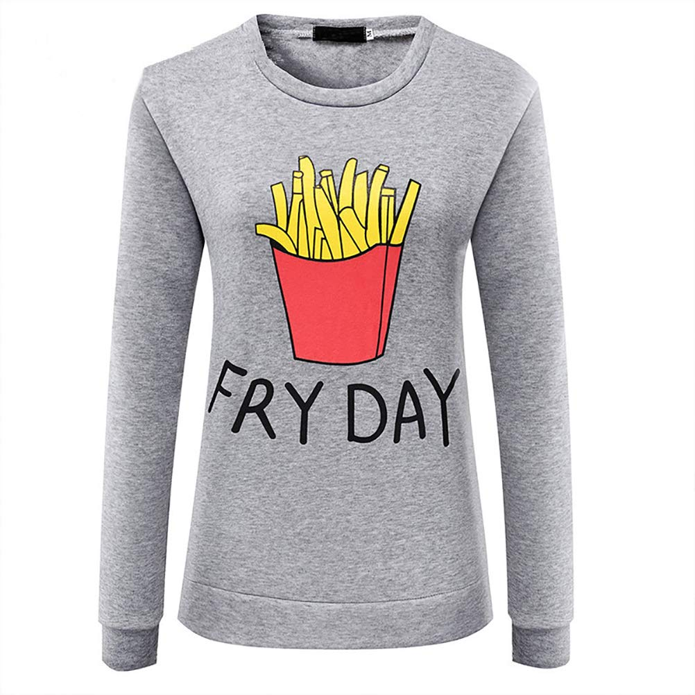 4f1d0051156 ADLISA Funny Fry Day Letter Print Long Sleeve Crewneck Casual Sweatshirt  Pullover Top Sweater (Color   Gray