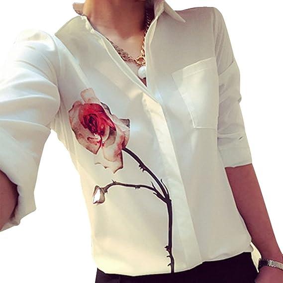 Blusa Rosa Mujer Ropa para Mujer Tops Casual de Gasa Manga Larga Camisas Polos Señoras ❤