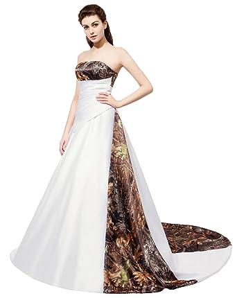 Zhu Li Ya Women\'s Satin Beaded Camo Wedding Dresses Camouflage ...