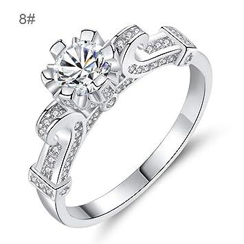 9ab1f03deece Anillo de diamante redondo Anillo de matrimonio Joyería creativa en forma  de flor  Amazon.