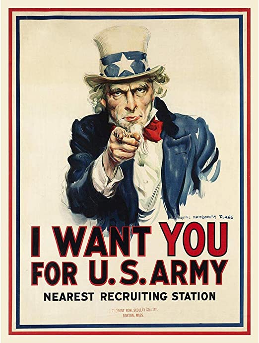 Amazon.com: Wee Blue Coo War WWI USA Uncle Sam Want You Army Iconic  Unframed Wall Art Print Poster Home Decor Premium: Posters & Prints