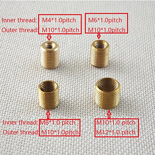4Pieces/Lot M4/M6/M8 To M10, M10 To M12 Copper Threaded Hollow Tube Adapter Inner&Outer Threaded Coupler Conveyer Adapter Raw brass m8 to m10 Pitch1mm