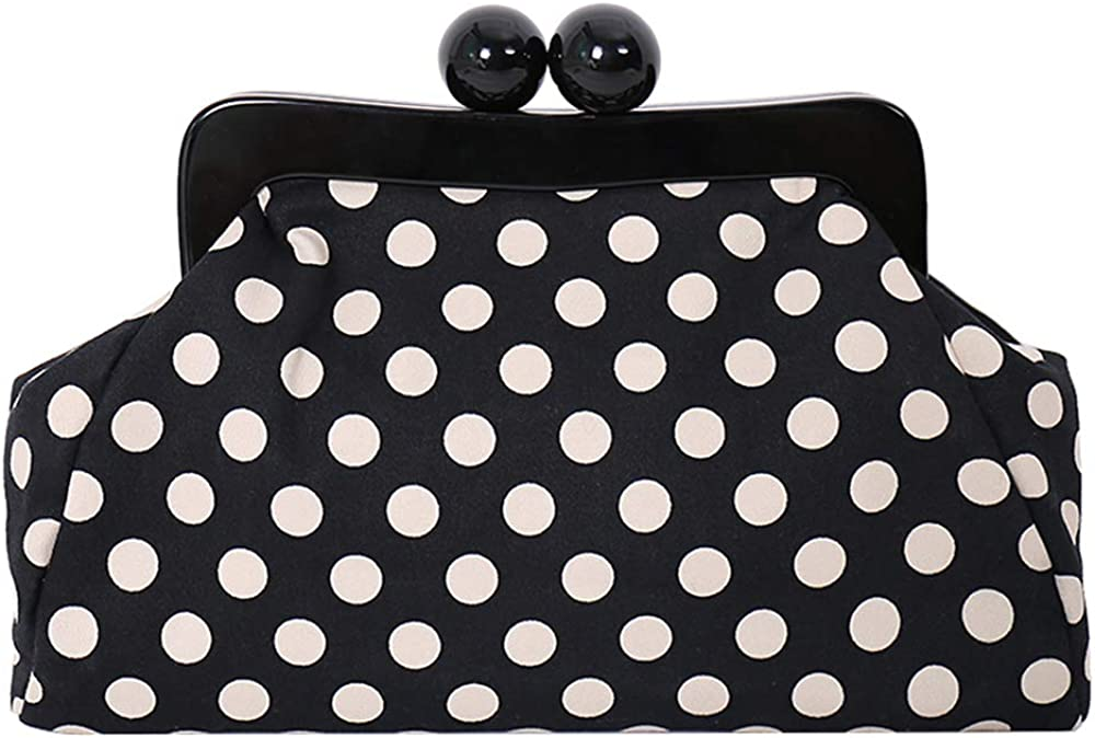 Menurra Polka Dot Evening Bag Clutch Purse for Women Wedding Party Handbag Cocktail Bag