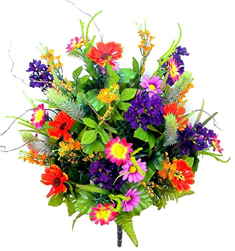Admired By Nature 36 Stems Artificial Full Blooming Lilac, Daisy & Black Eyed Susan with Foliage Mixed Flowers Bush for Home, Wedding, Restaurant & Office Decoration Arrangement, Jewel Mix