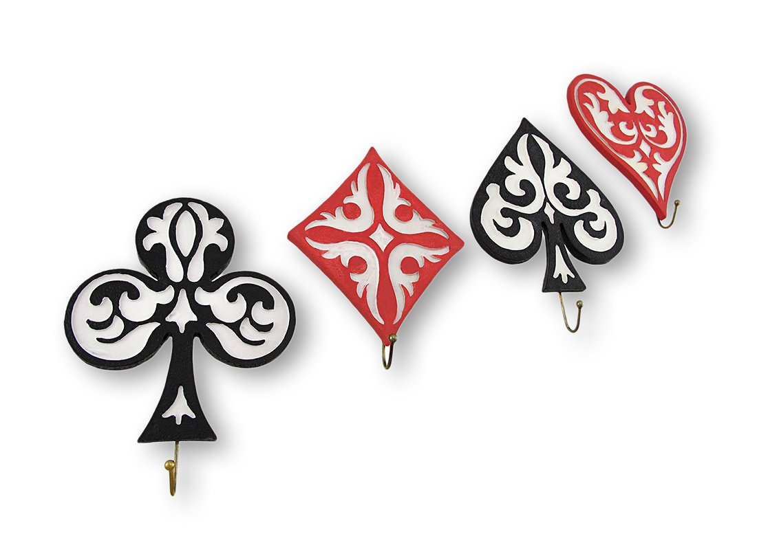 Set of 4 Game Suit Wall Hooks