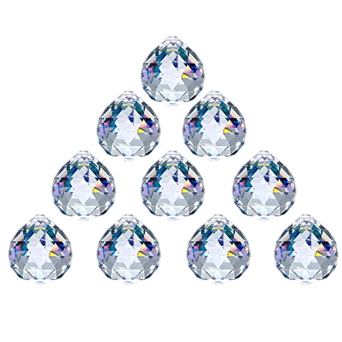 JIHUI Crystal Ball Prism 40mm/1.57 Inch Decorative Ball for Chandelier Window Suncatcher 10Pack Rainbow Maker