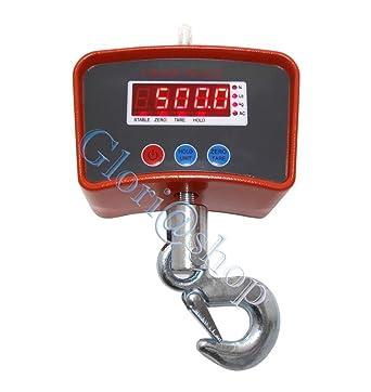 Báscula electrónica industrial de 500 kg. Pantalla LED con gancho grúa de acero inoxidable