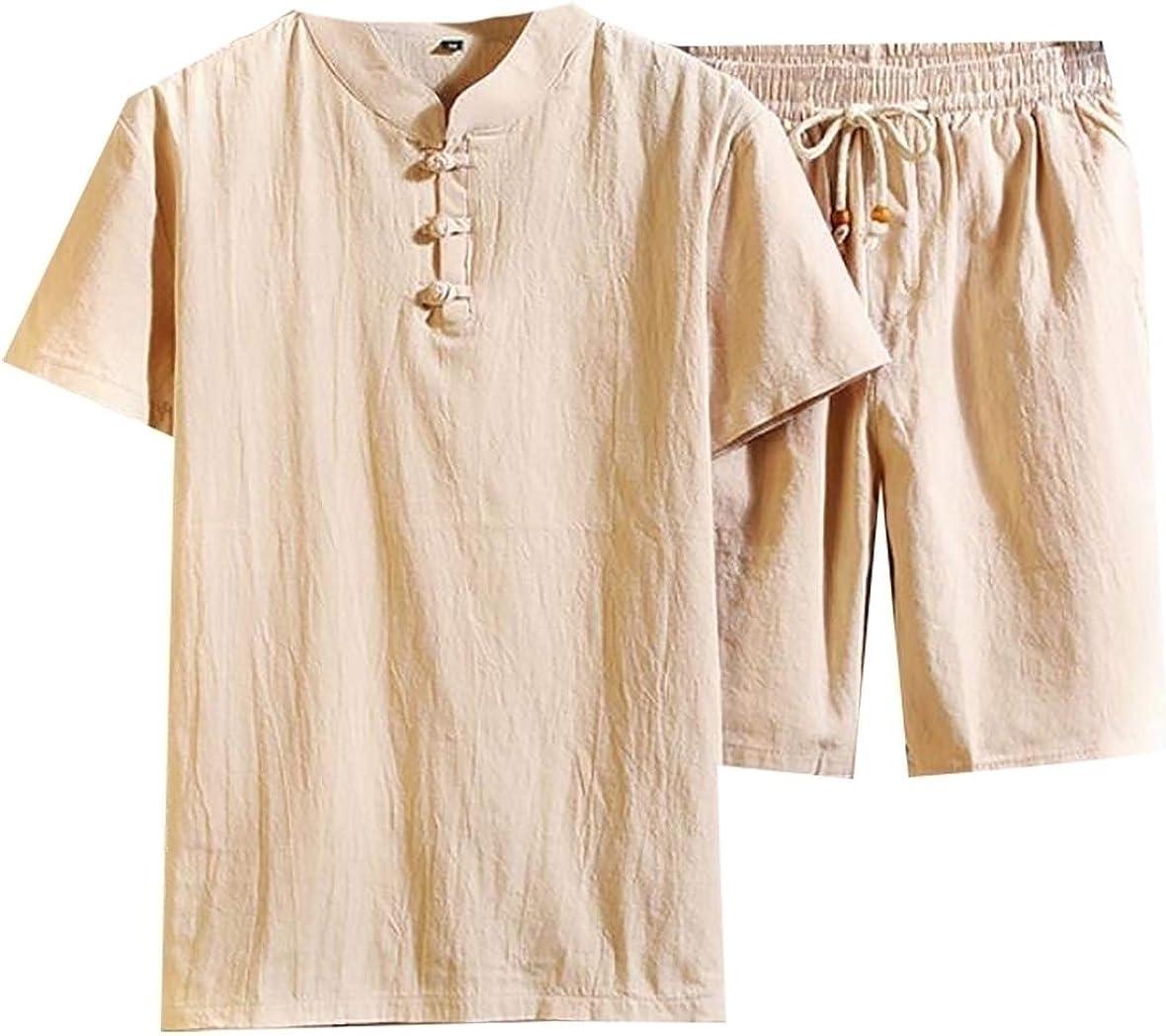 Xswsy XG Mens Shorts Leisure Linen Slim T-Shirt 2PCS Sets Solid Outfits