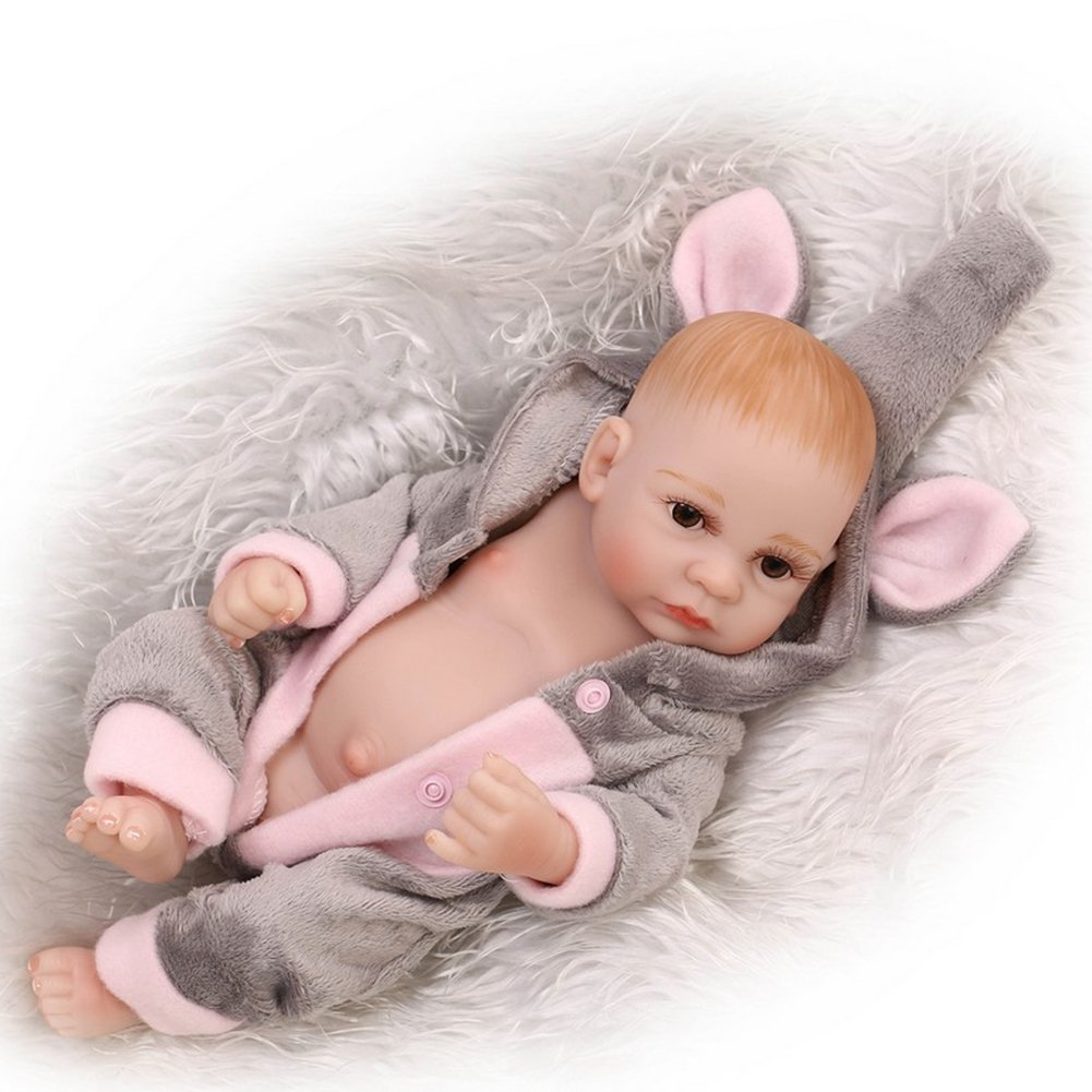 J Samber Handmade Soft Silicone Newborn Dolls Lifelike Reborn Baby Doll Rubber Artificial Doll Soft Body Toy Accompany Sleeping Doll Christmas Birthday Gifts For Baby Kids (G)