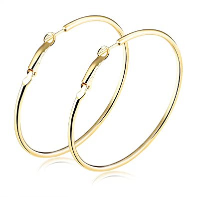 bce9d6f00 Amazon.com: Gold Plated Round Round Wire Flattened Hoop Earrings for Women  40mm-70mm, High Polish (40mm Diameter): Jewelry