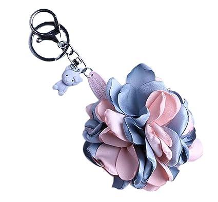 Elegante colgante eterno flor de tela clave llavero ...