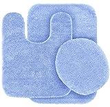 Elegant Home 3 Piece Bathroom Rug Set Bath Rug, Contour Mat, Lid Cover Non-Slip With Rubber Backing Solid Color # 6 (Light Blue)