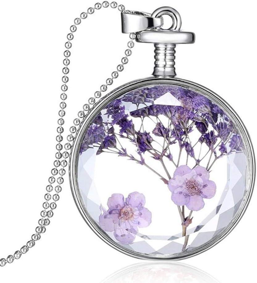 Pulabo Collar con colgante hecho a mano con flor seca natural, collar de botella redonda de cristal, cómodo y respetuoso con el medio ambiente.