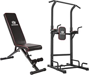 ADVENOR Adjustable Weight Bench and Power Tower Dip Station Pull Up Bar for Home Gym