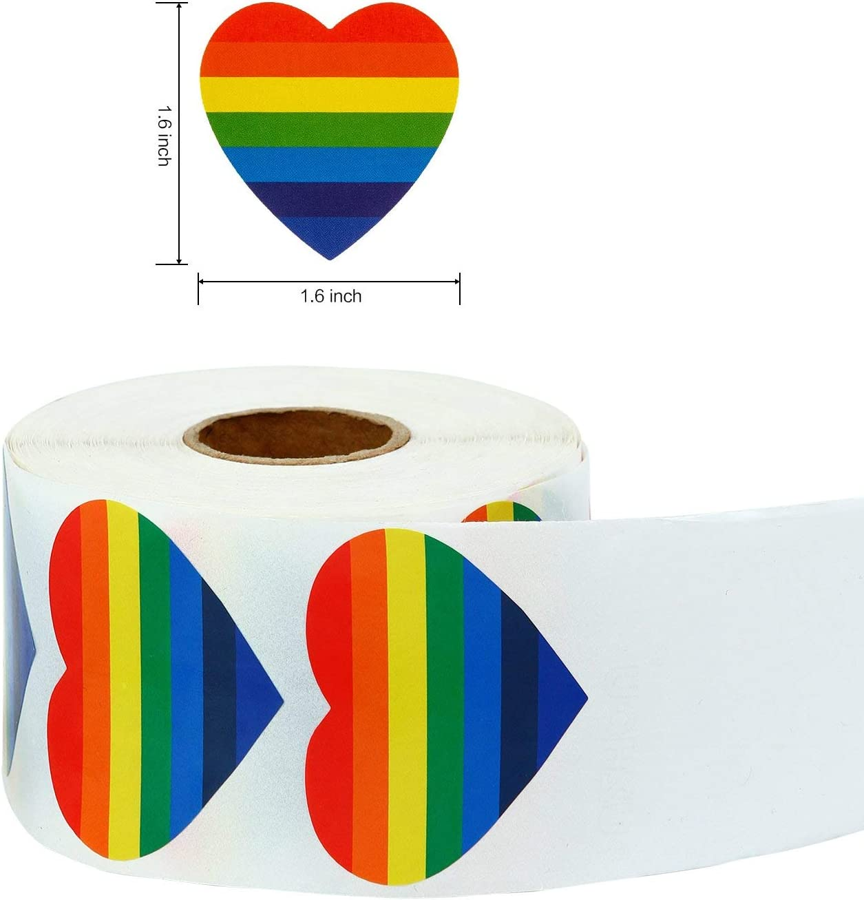 50 Pack Rainbow Gay Pride Flags Small Rainbow Stick Flag and 500 Pcs Rainbow Gay Pride Stickers,Heart-Shaped LGBT Stickers Roll for Pride Rainbow Party