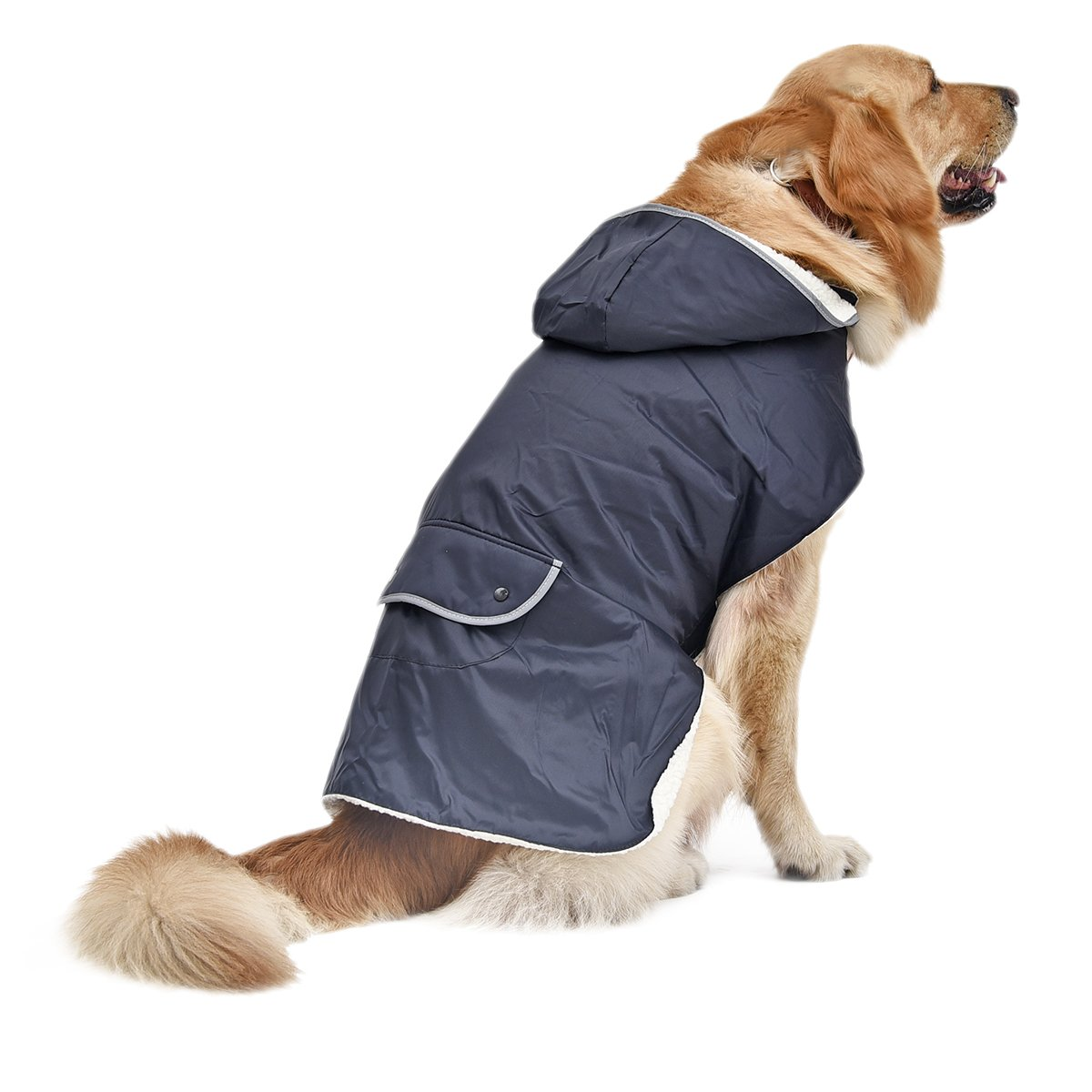 4 Pets Dog Clothes Pet Coat Large Dog Apparel Removable Hoodies Back Pocket & Reflective Design XXL