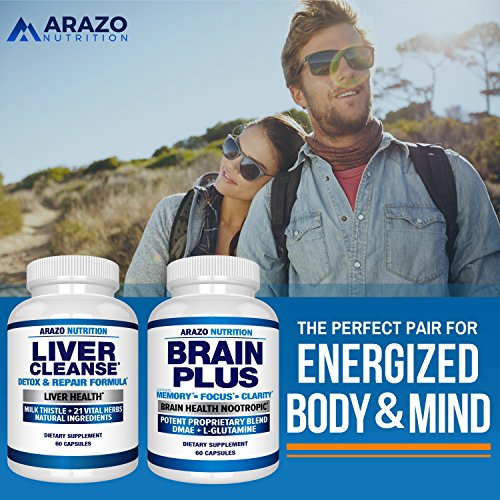 Liver Cleanse Detox & Repair Formula – 22 Herbs Support Supplement: Milk thistle Extracts Silymarin, Beet, Artichoke, Dandelion, Chicory Root – Arazo Nutrition USA by Arazo Nutrition (Image #5)