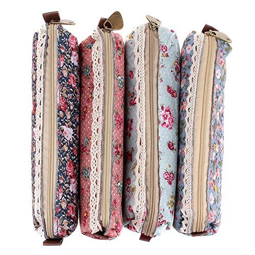 Three Legs Fashion Set of 4 Cute Sweety Floral Pen Pencil Bag Case Holder Cover Pouch Bag, School Office Accessories for Students Teens Boys and Girls