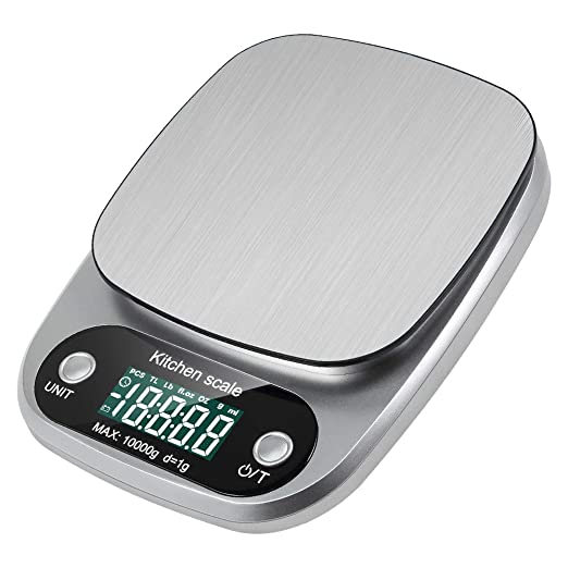 Báscula digital de cocina, Prous FT04, báscula electrónica digital de acero inoxidable, 10 kg, báscula de cocina con función de tara, apagado automático, ...