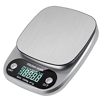 lavuky Digital de Cocina - Báscula digital de alimentos, DK04 presupuesto Báscula 10 kg Báscula de cocina digital Pantalla LCD automático de acero ...
