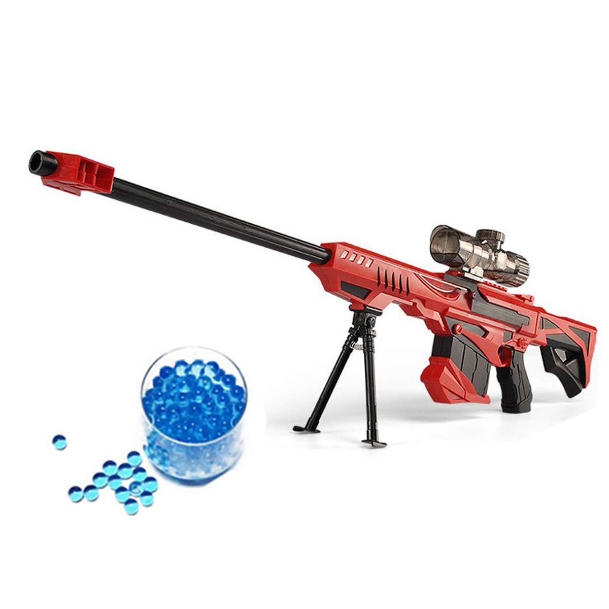 JINFYUAN Water Bomb Toy Gun, Military Combat Barrett Sniper rifle, i bambini all' aperto CS Water Bomb giocattolo fucile di precisione + 15000Crystal Bullet, Red JINGYUAN