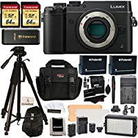 Panasonic DMC-GX8KBODY LUMIX GX8 Interchangeable Lens DSLM Camera Body Only + Transcend 64 GB 2 Pack + Polaroid 72 Inch Tripod + LED Light and Flash Kit + 2 Spare Batteries + Charger + Accessory Kit Overview Review Image