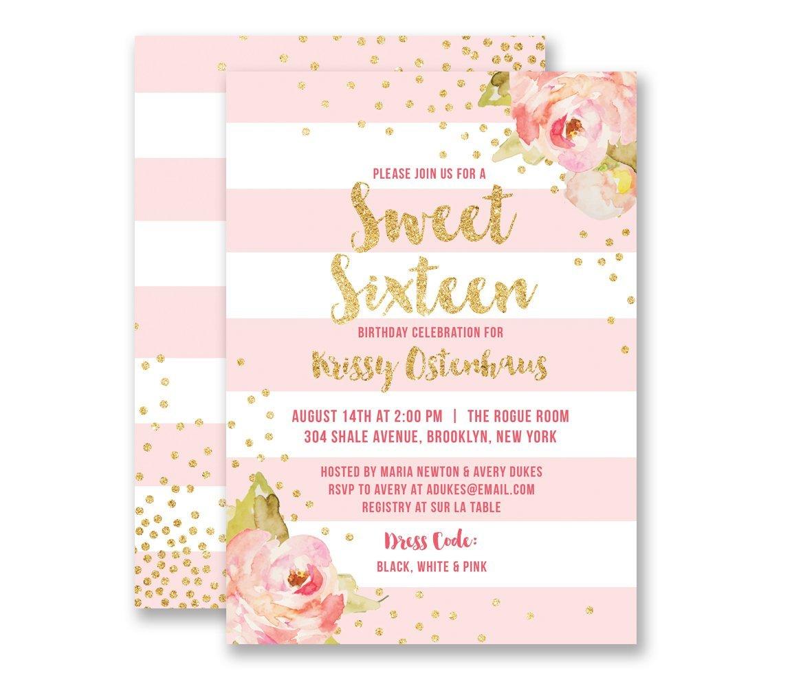 Amazon.com: Sweet Sixteen Birthday Invitations Pink Striped Birthday ...