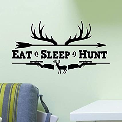 Amazon.com: customwallsdesign Eat Sleep Hunt Rifles Racks ...