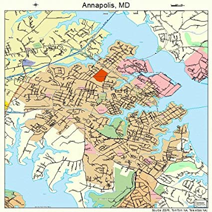 Amazon.com: Large Street & Road Map of Annapolis, Maryland MD ...
