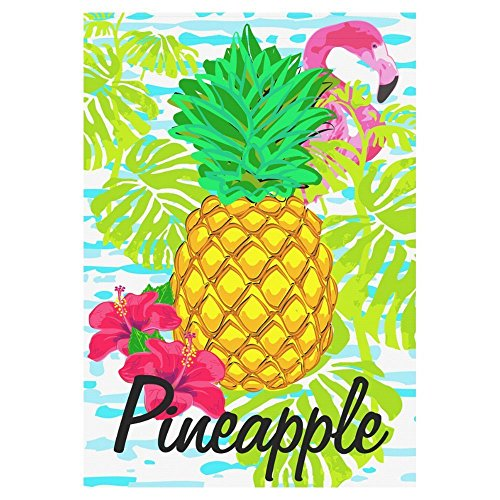 (InterestPrint Tropical Pineapple with Flamingo Polyester Garden Flag House Banner 28 x 40 inch, Summer Time Decorative Flag for Wedding Party Yard Home Outdoor)