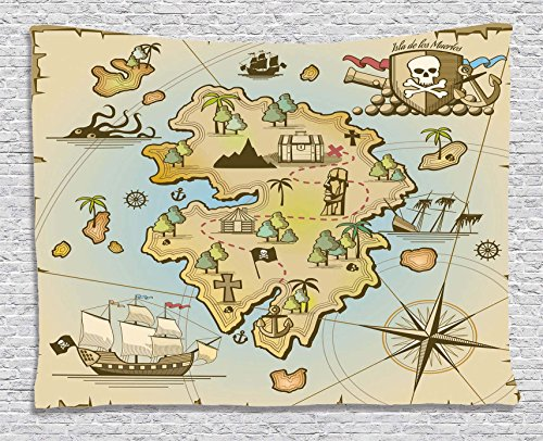 (Ambesonne Island Map Decor Collection, Cartoon Treasure Island with Pirate Ship Chest Kraken Octopus Nautical Kids Playroom Decor, Bedroom Living Room Dorm Wall Hanging Tapestry, 60 X 40 Inches, Multi)