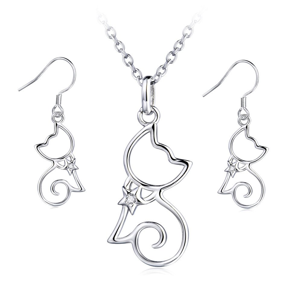 YFN Sterling Silver CZ Open Little Cat Dangle Earrings Pendant Necklace 18'' (A Set Cat Earrings and Necklace) by YFN (Image #1)