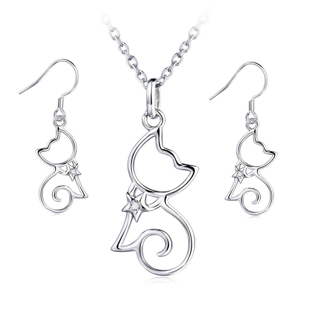 YFN Sterling Silver CZ Open Little Cat Dangle Earrings Pendant Necklace 18'' (A Set Cat Earrings and Necklace)