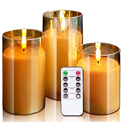 GenSwin Flameless Led Candles Flickering Battery Operated with Remote, Real Wax 3D Wick Moving Pillar Candles with Timer Remote Glass Effect for Festival Wedding Christmas Home Decor(Gold): Home Improvement